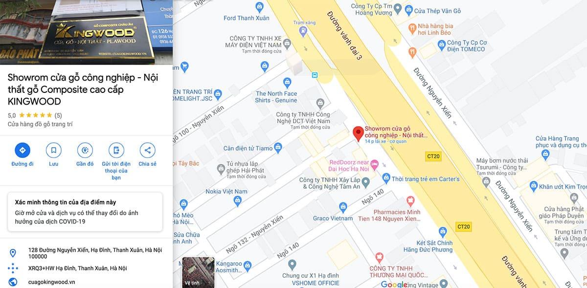 Bản đồ chỉ dẫn showroom cửa gỗ Kingwood